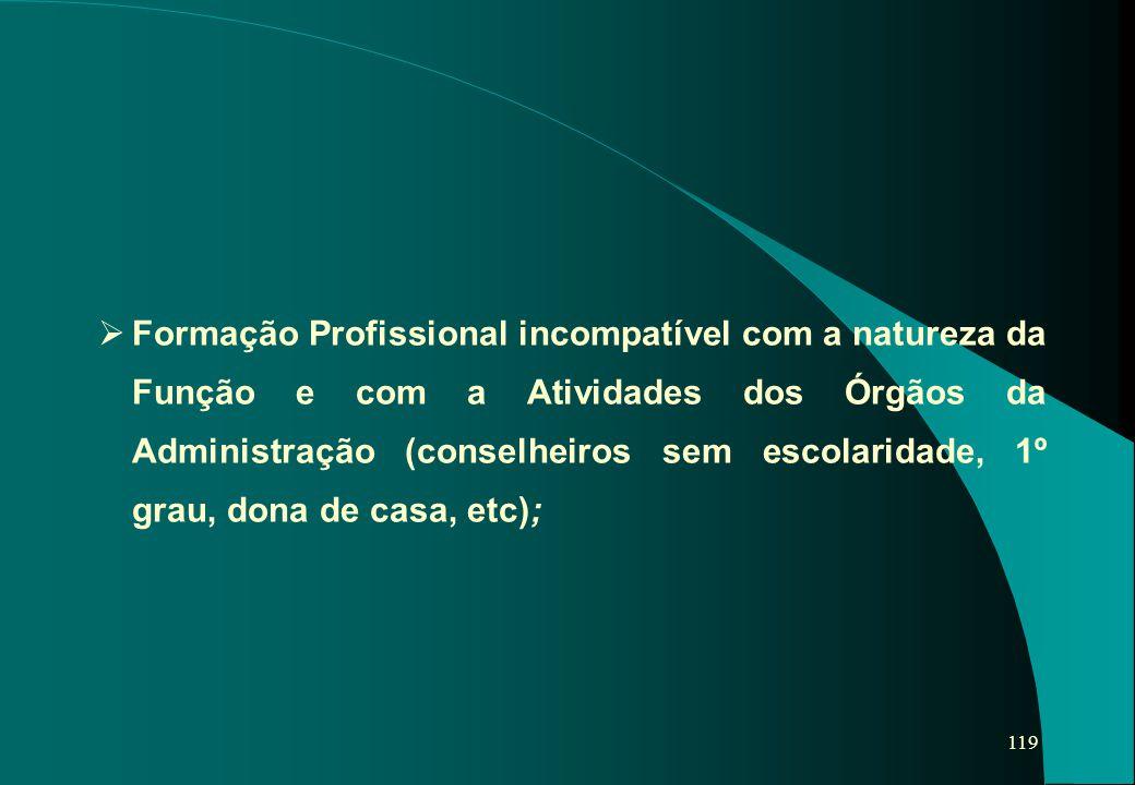 119   Formação Profissional incompatível com a natureza da Função e com a Atividades dos Órgãos da Administração (conselheiros sem escolaridade, 1º