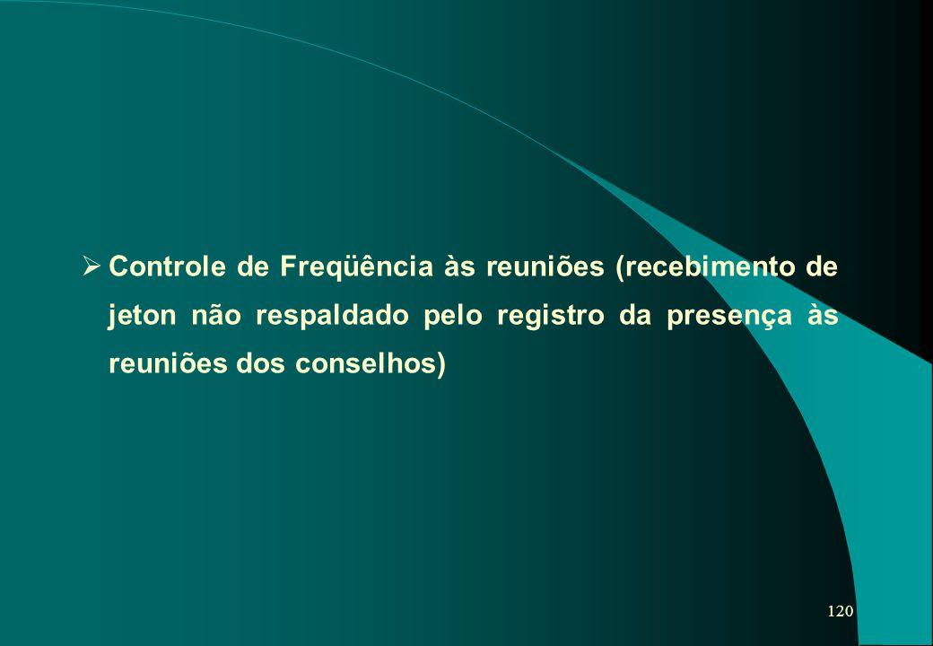120   Controle de Freqüência às reuniões (recebimento de jeton não respaldado pelo registro da presença às reuniões dos conselhos)