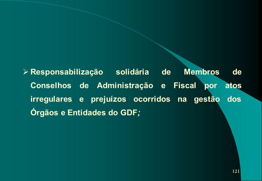 121   Responsabilização solidária de Membros de Conselhos de Administração e Fiscal por atos irregulares e prejuízos ocorridos na gestão dos Órgãos