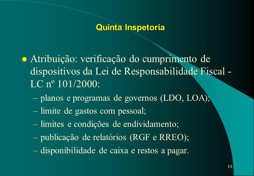 13 l Atribuição: verificação do cumprimento de dispositivos da Lei de Responsabilidade Fiscal - LC nº 101/2000: –planos e programas de governos (LDO,