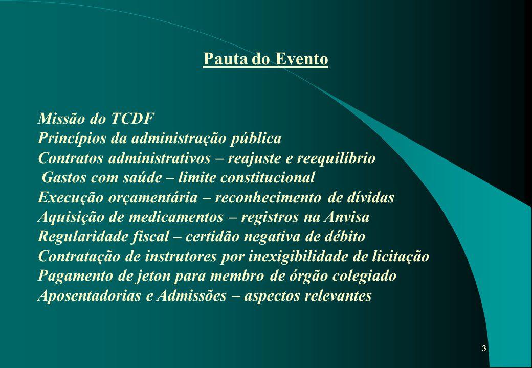3 Pauta do Evento Missão do TCDF Princípios da administração pública Contratos administrativos – reajuste e reequilíbrio Gastos com saúde – limite con