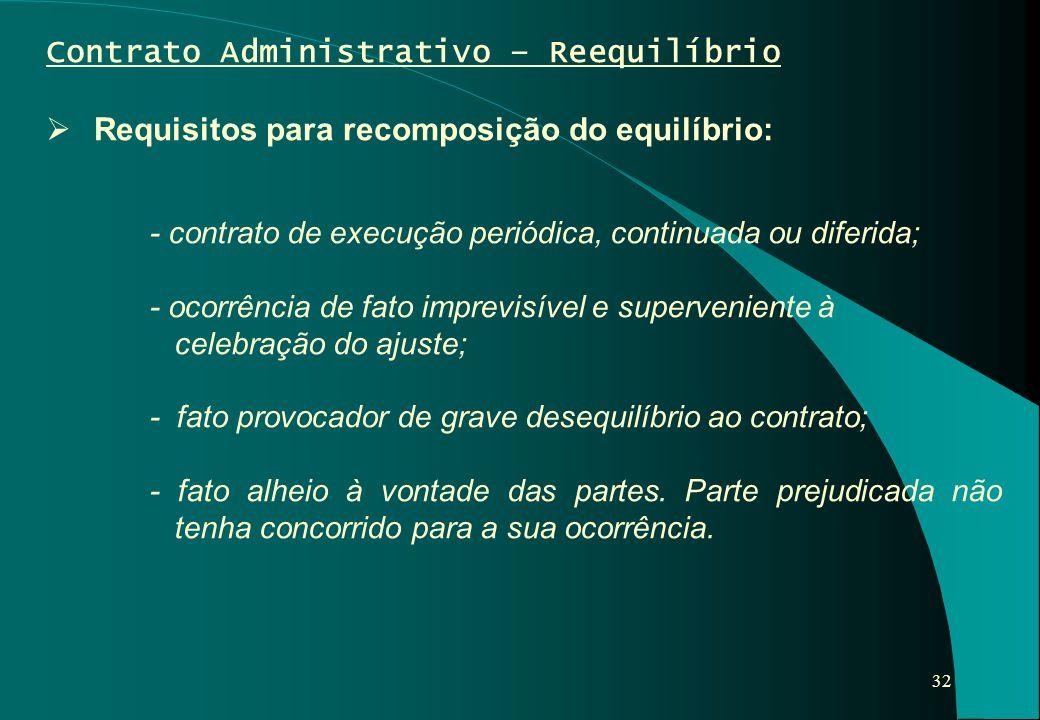 32 Contrato Administrativo – Reequilíbrio  Requisitos para recomposição do equilíbrio: - contrato de execução periódica, continuada ou diferida; - oc