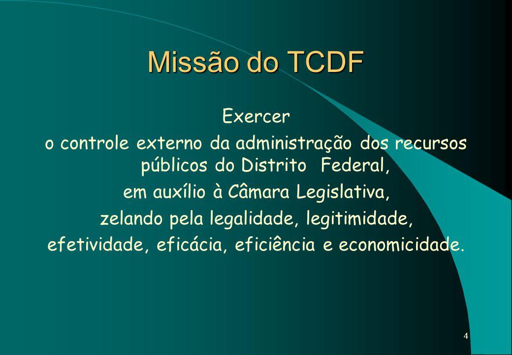 4 Missão do TCDF Exercer o controle externo da administração dos recursos públicos do Distrito Federal, em auxílio à Câmara Legislativa, zelando pela