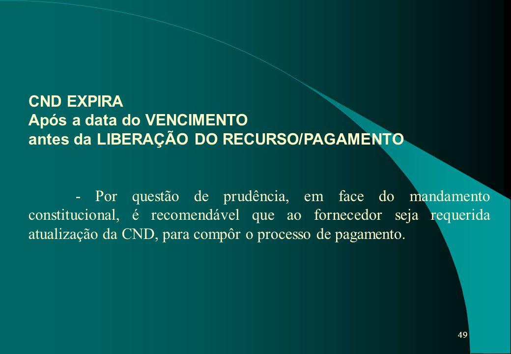 49 CND EXPIRA Após a data do VENCIMENTO antes da LIBERAÇÃO DO RECURSO/PAGAMENTO - Por questão de prudência, em face do mandamento constitucional, é re
