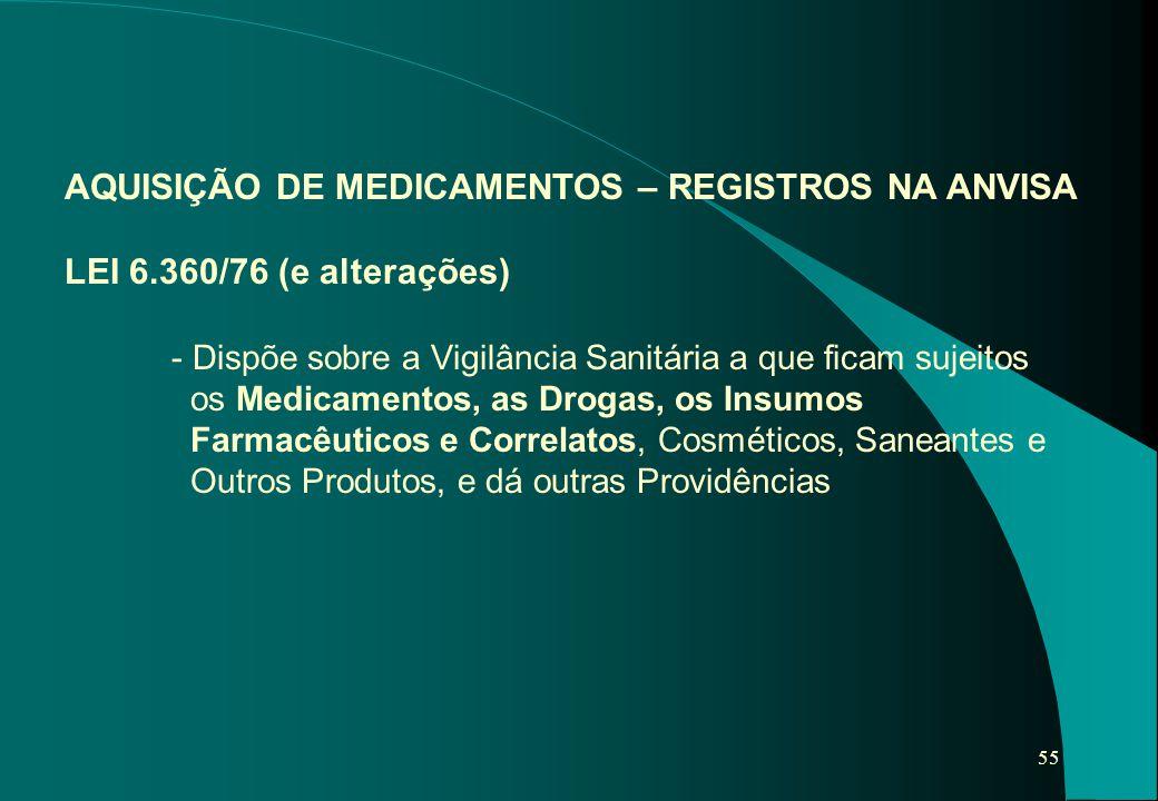 55 AQUISIÇÃO DE MEDICAMENTOS – REGISTROS NA ANVISA LEI 6.360/76 (e alterações) - Dispõe sobre a Vigilância Sanitária a que ficam sujeitos os Medicamen