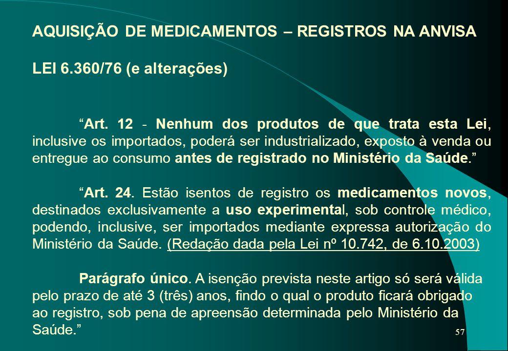 """57 AQUISIÇÃO DE MEDICAMENTOS – REGISTROS NA ANVISA LEI 6.360/76 (e alterações) """"Art. 12 - Nenhum dos produtos de que trata esta Lei, inclusive os impo"""