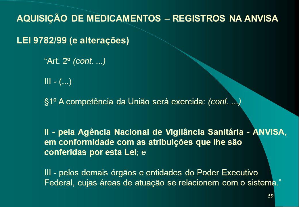 """59 AQUISIÇÃO DE MEDICAMENTOS – REGISTROS NA ANVISA LEI 9782/99 (e alterações) """"Art. 2º (cont....) III - (...) §1º A competência da União será exercida"""