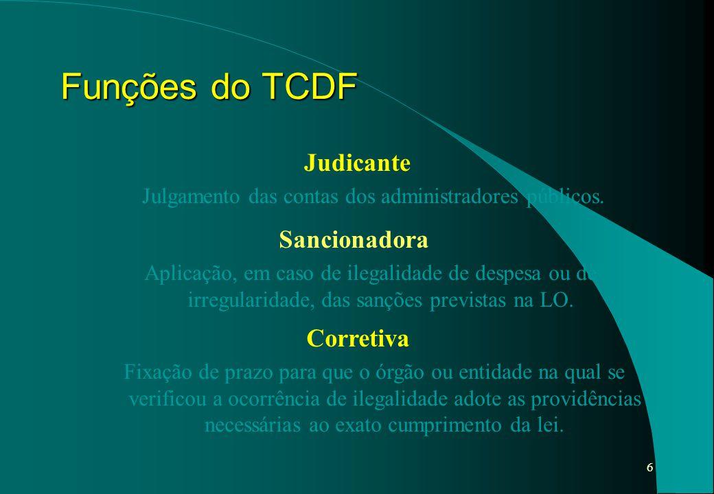 6 Funções do TCDF Judicante Julgamento das contas dos administradores públicos. Sancionadora Aplicação, em caso de ilegalidade de despesa ou de irregu