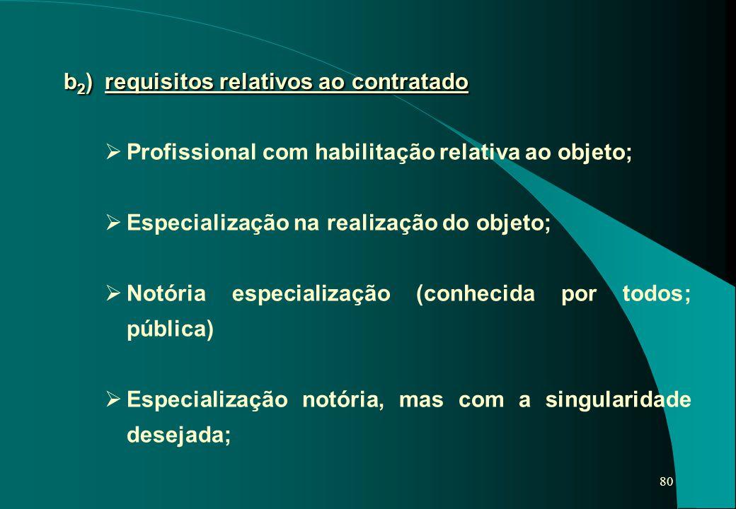 80 b 2 ) requisitos relativos ao contratado  Profissional com habilitação relativa ao objeto;  Especialização na realização do objeto;  Notória esp