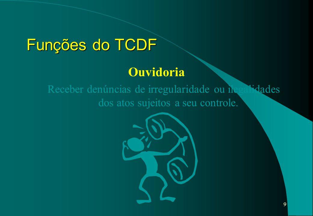 9 Ouvidoria Receber denúncias de irregularidade ou ilegalidades dos atos sujeitos a seu controle. Funções do TCDF
