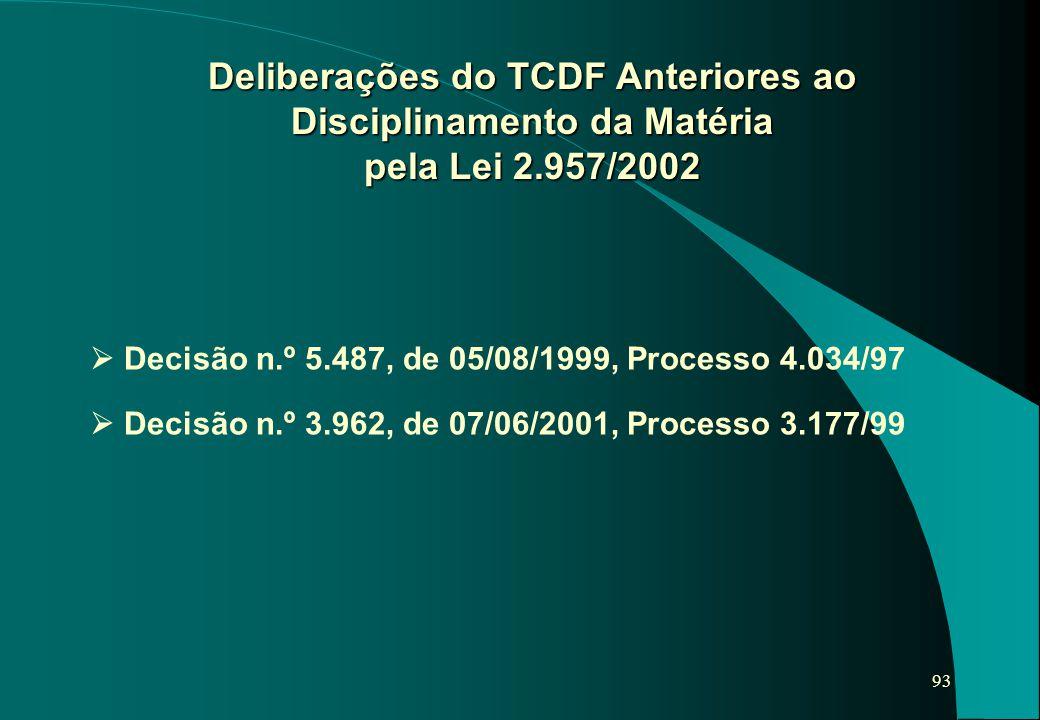 93 Deliberações do TCDF Anteriores ao Disciplinamento da Matéria pela Lei 2.957/2002  Decisão n.º 5.487, de 05/08/1999, Processo 4.034/97  Decisão n