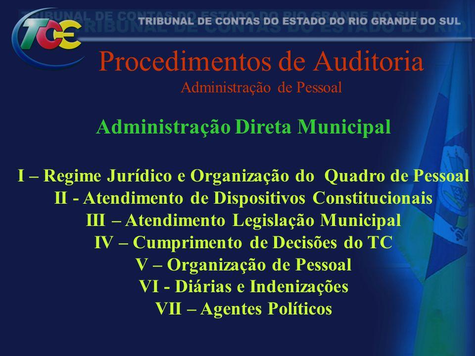 Procedimentos de Auditoria Administração de Pessoal Administração Direta Municipal I – Regime Jurídico e Organização do Quadro de Pessoal II - Atendim