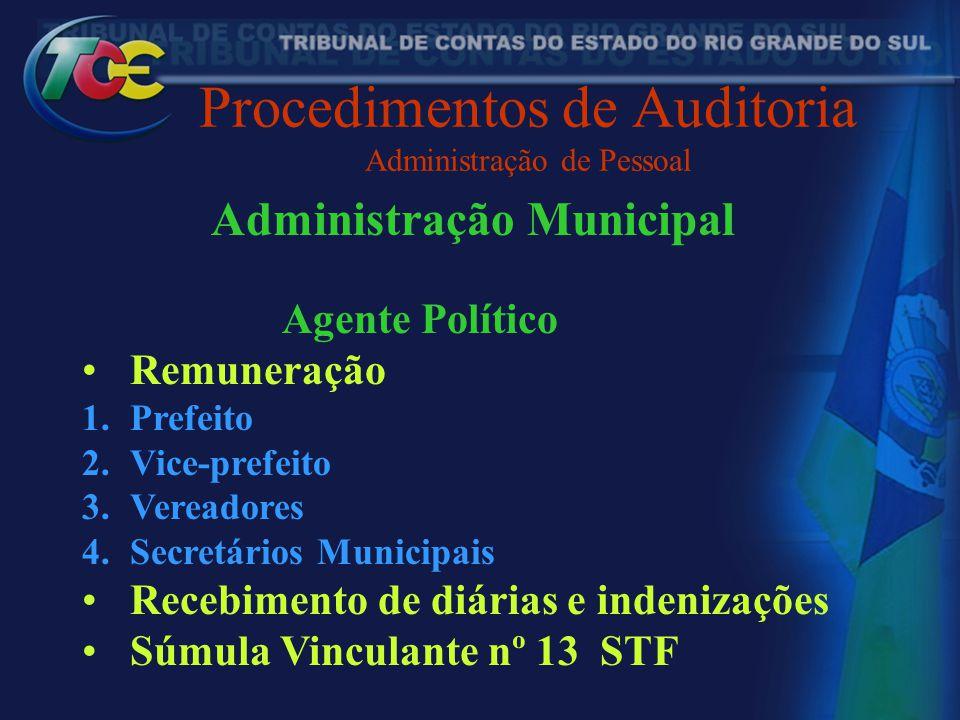 Procedimentos de Auditoria Administração de Pessoal Administração Municipal Agente Político Remuneração 1.Prefeito 2.Vice-prefeito 3.Vereadores 4.Secr