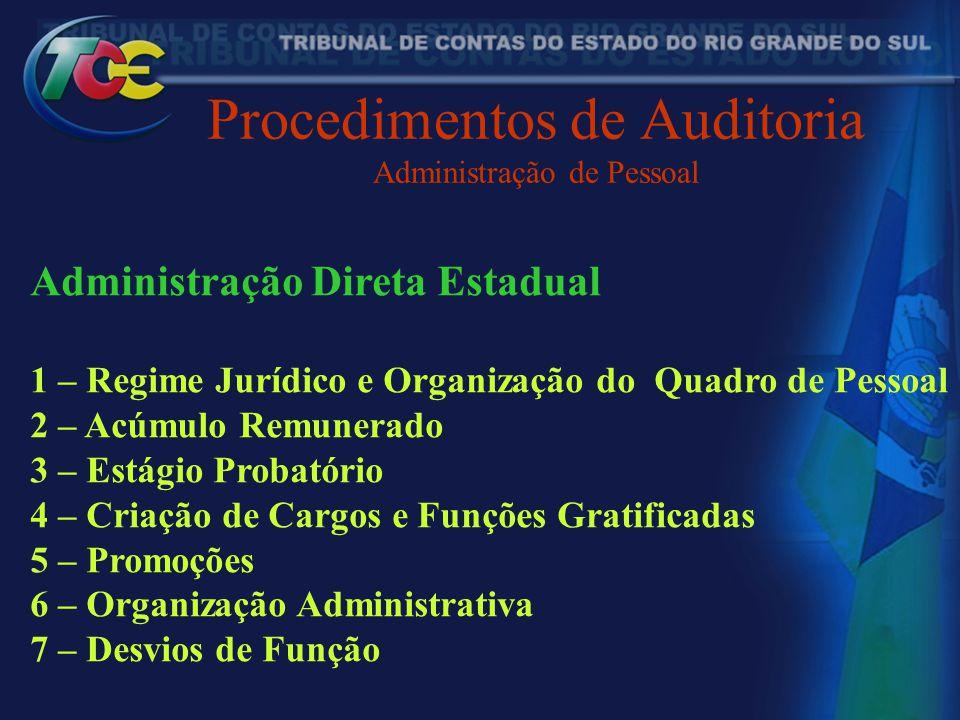 Procedimentos de Auditoria Administração de Pessoal Administração Direta Estadual 1 – Regime Jurídico e Organização do Quadro de Pessoal 2 – Acúmulo R