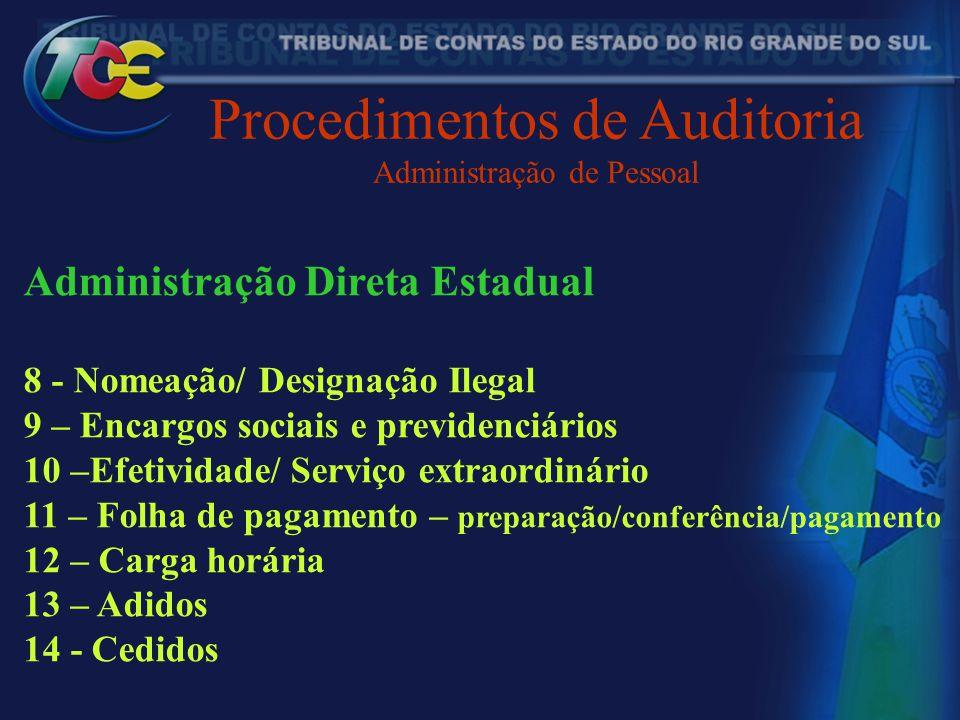 Procedimentos de Auditoria Administração de Pessoal Administração Direta Estadual 8 - Nomeação/ Designação Ilegal 9 – Encargos sociais e previdenciári