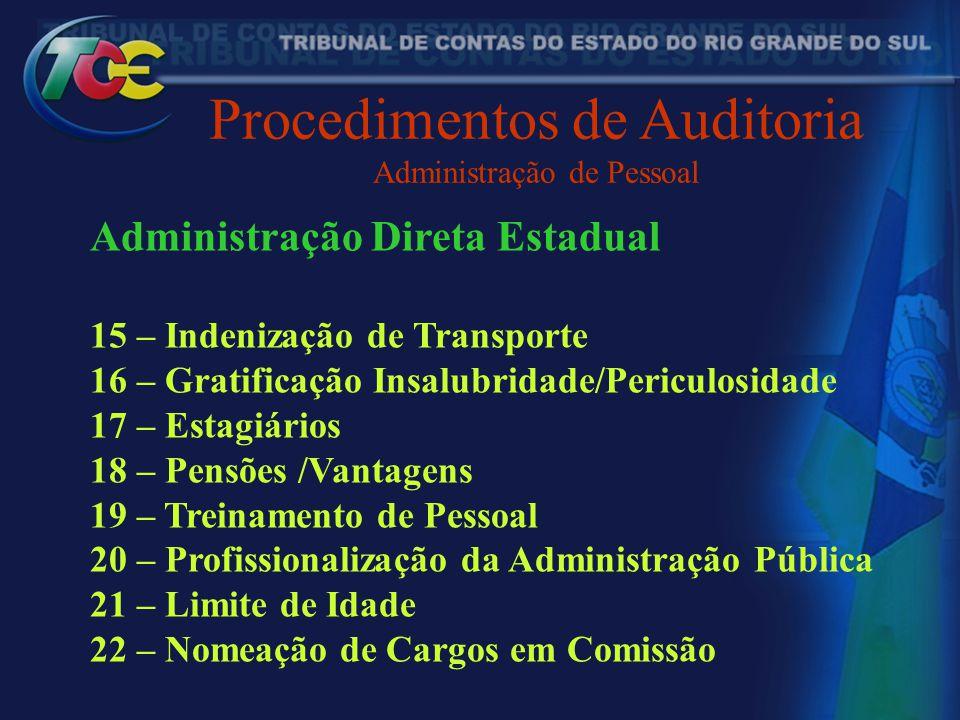 Procedimentos de Auditoria Administração de Pessoal Administração Direta Estadual 15 – Indenização de Transporte 16 – Gratificação Insalubridade/Peric