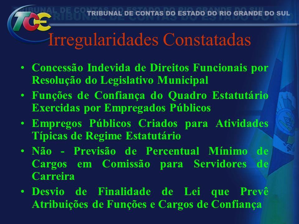 Irregularidades Constatadas Concessão Indevida de Direitos Funcionais por Resolução do Legislativo Municipal Funções de Confiança do Quadro Estatutári