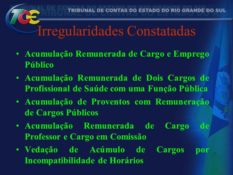 Irregularidades Constatadas Acumulação Remunerada de Cargo e Emprego Público Acumulação Remunerada de Dois Cargos de Profissional de Saúde com uma Fun