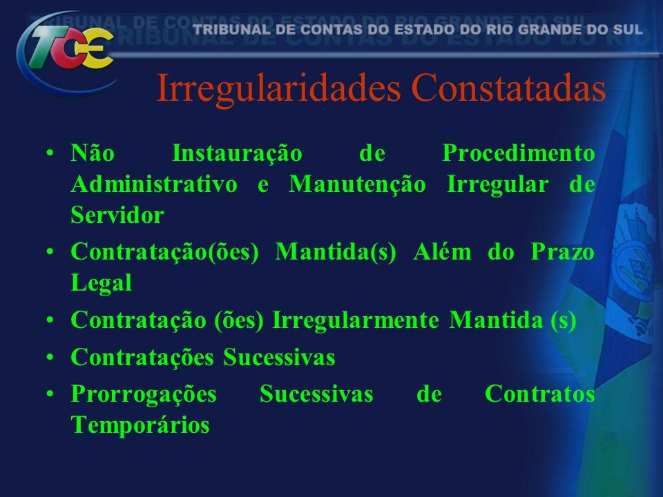 Irregularidades Constatadas Não Instauração de Procedimento Administrativo e Manutenção Irregular de Servidor Contratação(ões) Mantida(s) Além do Praz