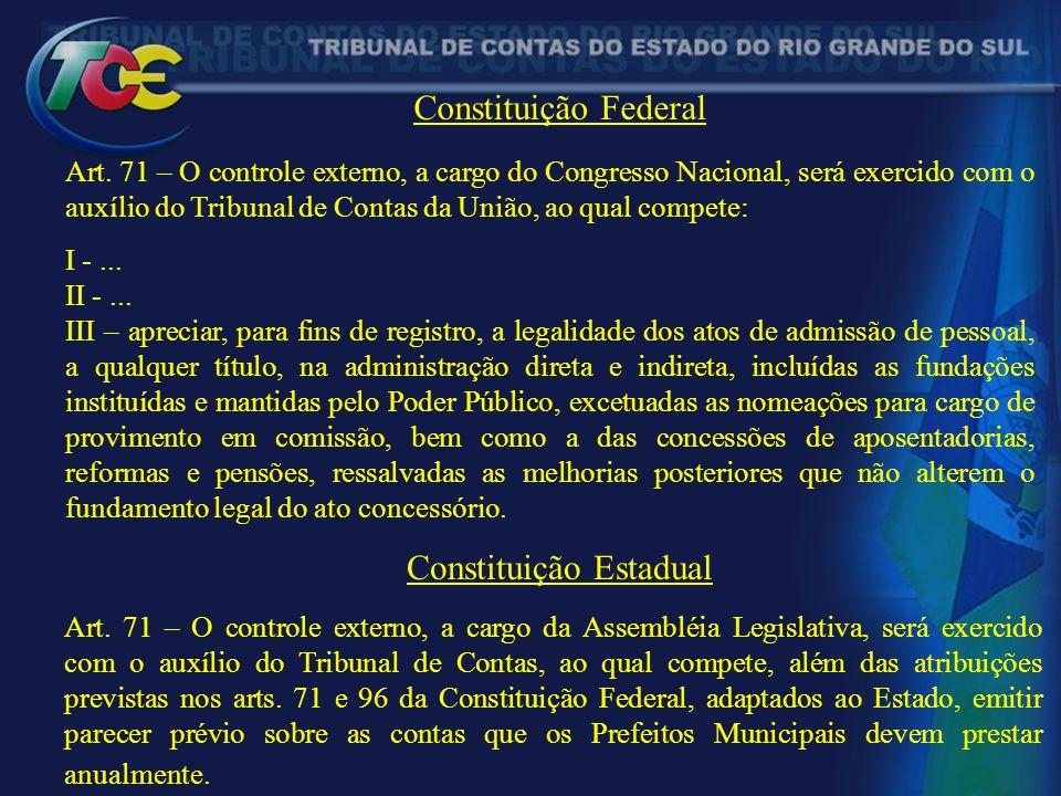 Constituição Federal Art. 71 – O controle externo, a cargo do Congresso Nacional, será exercido com o auxílio do Tribunal de Contas da União, ao qual
