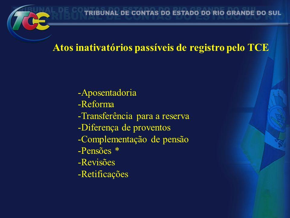 Atos inativatórios passíveis de registro pelo TCE -Aposentadoria -Reforma -Transferência para a reserva -Diferença de proventos -Complementação de pen