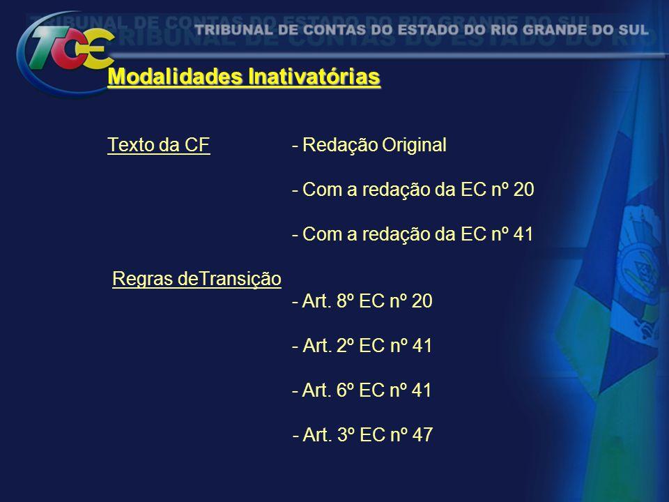 Modalidades Inativatórias Modalidades Inativatórias Texto da CF - Redação Original - Com a redação da EC nº 20 - Com a redação da EC nº 41 Regras deTr