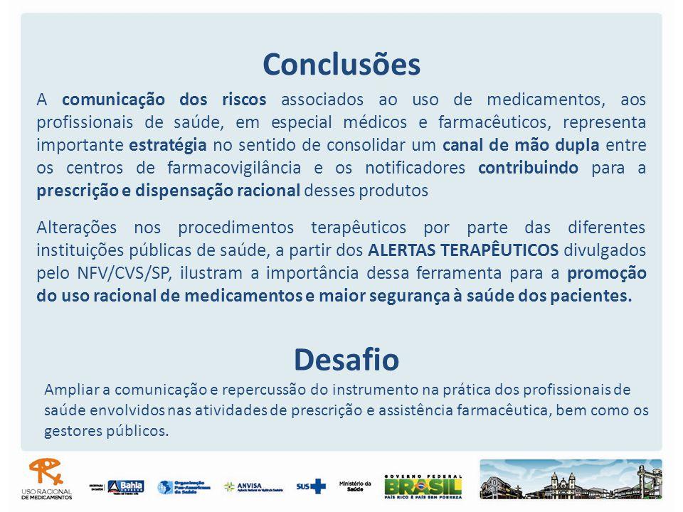 Conclusões Alterações nos procedimentos terapêuticos por parte das diferentes instituições públicas de saúde, a partir dos ALERTAS TERAPÊUTICOS divulg