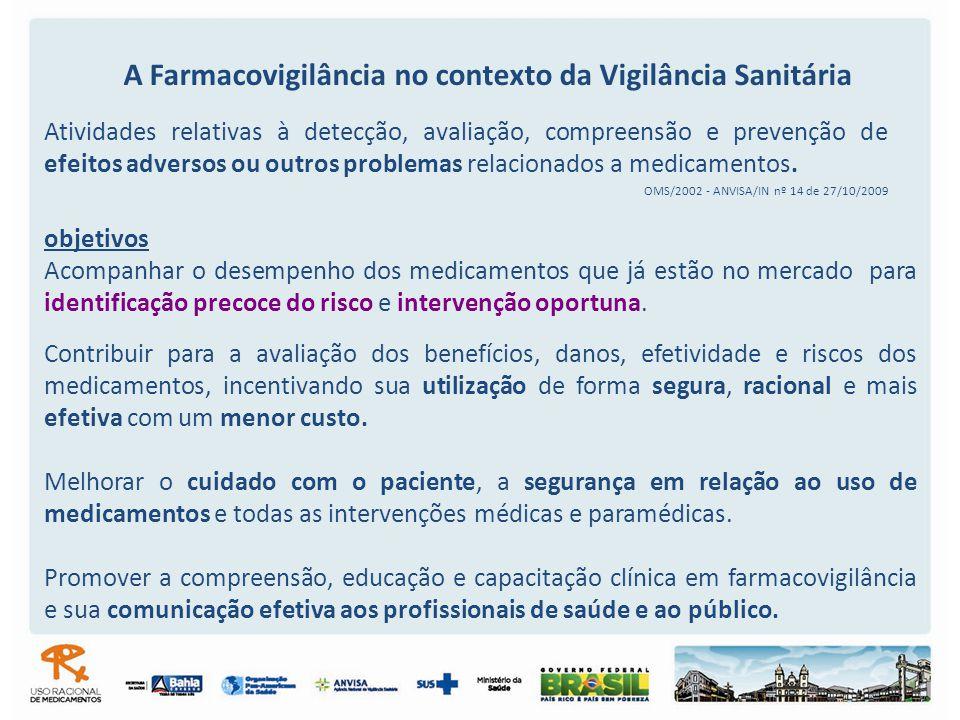 Atividades relativas à detecção, avaliação, compreensão e prevenção de efeitos adversos ou outros problemas relacionados a medicamentos. OMS/2002 - AN