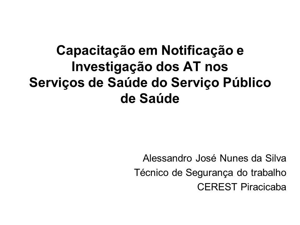 Capacitação em Notificação e Investigação dos AT nos Serviços de Saúde do Serviço Público de Saúde Alessandro José Nunes da Silva Técnico de Segurança do trabalho CEREST Piracicaba