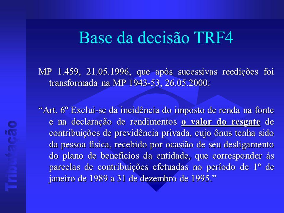 Base da decisão TRF4 MP 1.459, 21.05.1996, que após sucessivas reedições foi transformada na MP 1943-53, 26.05.2000: Art.