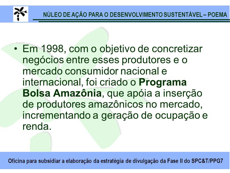 NÚLEO DE AÇÃO PARA O DESENVOLVIMENTO SUSTENTÁVEL – POEMA Oficina para subsidiar a elaboração da estratégia de divulgação da Fase II do SPC&T/PPG7 Em 1998, com o objetivo de concretizar negócios entre esses produtores e o mercado consumidor nacional e internacional, foi criado o Programa Bolsa Amazônia, que apóia a inserção de produtores amazônicos no mercado, incrementando a geração de ocupação e renda.