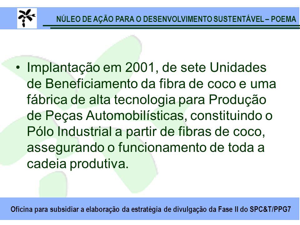 NÚLEO DE AÇÃO PARA O DESENVOLVIMENTO SUSTENTÁVEL – POEMA Oficina para subsidiar a elaboração da estratégia de divulgação da Fase II do SPC&T/PPG7 Implantação em 2001, de sete Unidades de Beneficiamento da fibra de coco e uma fábrica de alta tecnologia para Produção de Peças Automobilísticas, constituindo o Pólo Industrial a partir de fibras de coco, assegurando o funcionamento de toda a cadeia produtiva.