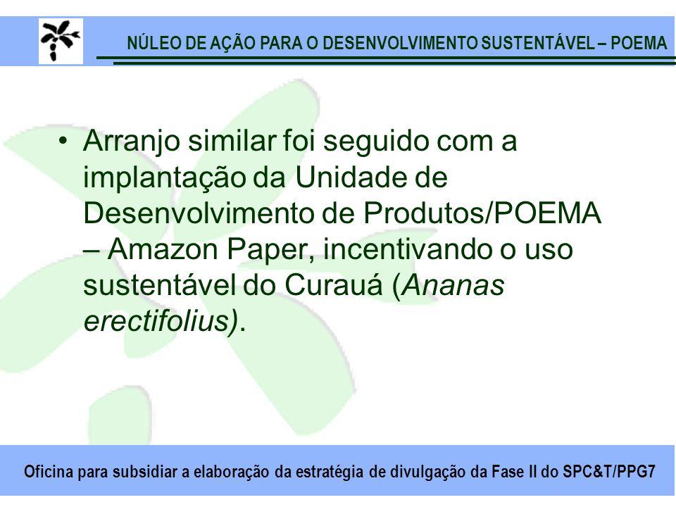 NÚLEO DE AÇÃO PARA O DESENVOLVIMENTO SUSTENTÁVEL – POEMA Oficina para subsidiar a elaboração da estratégia de divulgação da Fase II do SPC&T/PPG7 Arranjo similar foi seguido com a implantação da Unidade de Desenvolvimento de Produtos/POEMA – Amazon Paper, incentivando o uso sustentável do Curauá (Ananas erectifolius).