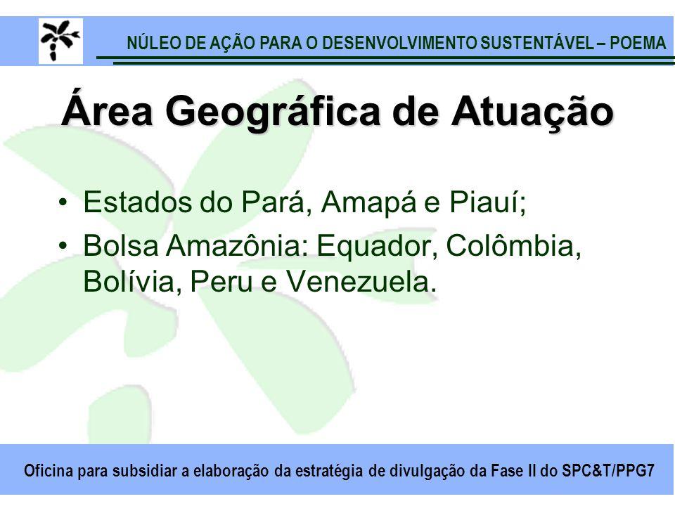 NÚLEO DE AÇÃO PARA O DESENVOLVIMENTO SUSTENTÁVEL – POEMA Oficina para subsidiar a elaboração da estratégia de divulgação da Fase II do SPC&T/PPG7 Área Geográfica de Atuação Estados do Pará, Amapá e Piauí; Bolsa Amazônia: Equador, Colômbia, Bolívia, Peru e Venezuela.