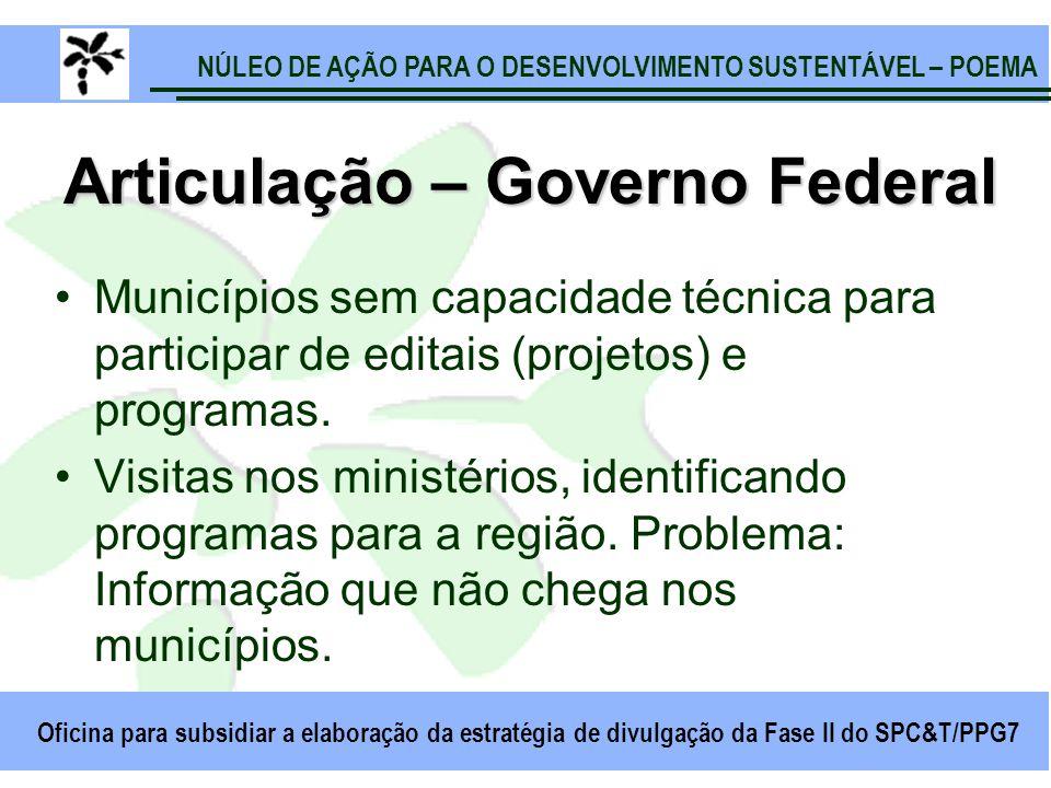 NÚLEO DE AÇÃO PARA O DESENVOLVIMENTO SUSTENTÁVEL – POEMA Oficina para subsidiar a elaboração da estratégia de divulgação da Fase II do SPC&T/PPG7 Arti
