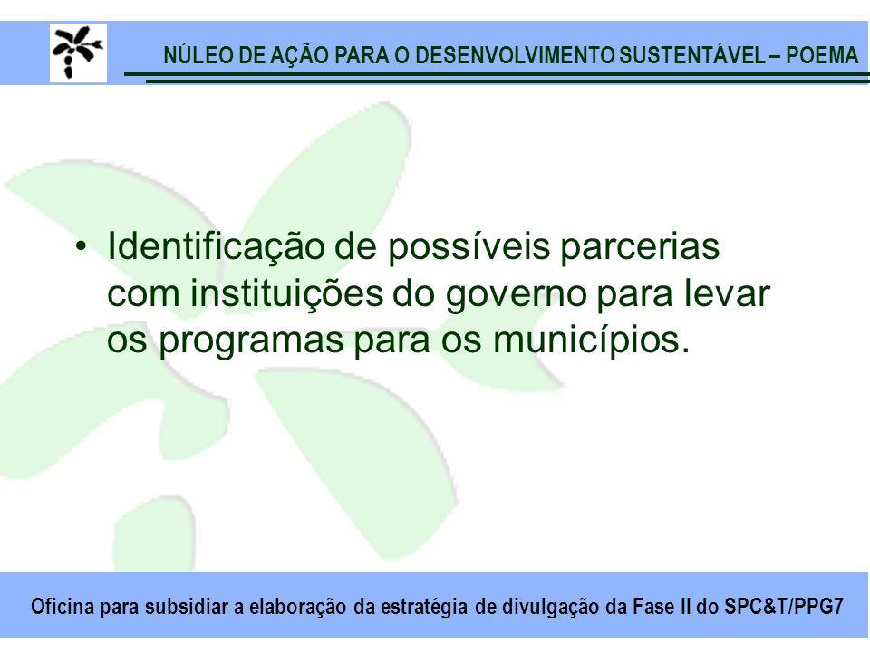 NÚLEO DE AÇÃO PARA O DESENVOLVIMENTO SUSTENTÁVEL – POEMA Oficina para subsidiar a elaboração da estratégia de divulgação da Fase II do SPC&T/PPG7 Identificação de possíveis parcerias com instituições do governo para levar os programas para os municípios.