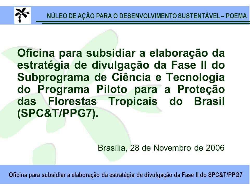 NÚLEO DE AÇÃO PARA O DESENVOLVIMENTO SUSTENTÁVEL – POEMA Oficina para subsidiar a elaboração da estratégia de divulgação da Fase II do SPC&T/PPG7 Oficina para subsidiar a elaboração da estratégia de divulgação da Fase II do Subprograma de Ciência e Tecnologia do Programa Piloto para a Proteção das Florestas Tropicais do Brasil (SPC&T/PPG7).