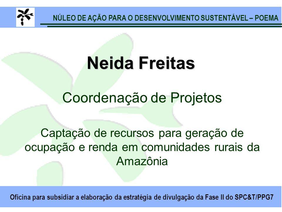NÚLEO DE AÇÃO PARA O DESENVOLVIMENTO SUSTENTÁVEL – POEMA Oficina para subsidiar a elaboração da estratégia de divulgação da Fase II do SPC&T/PPG7 Neida Freitas Coordenação de Projetos Captação de recursos para geração de ocupação e renda em comunidades rurais da Amazônia
