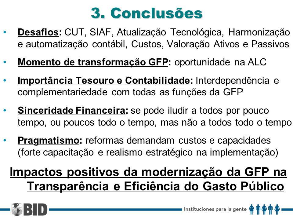 3. Conclusões Desafios: CUT, SIAF, Atualização Tecnológica, Harmonização e automatização contábil, Custos, Valoração Ativos e Passivos Momento de tran