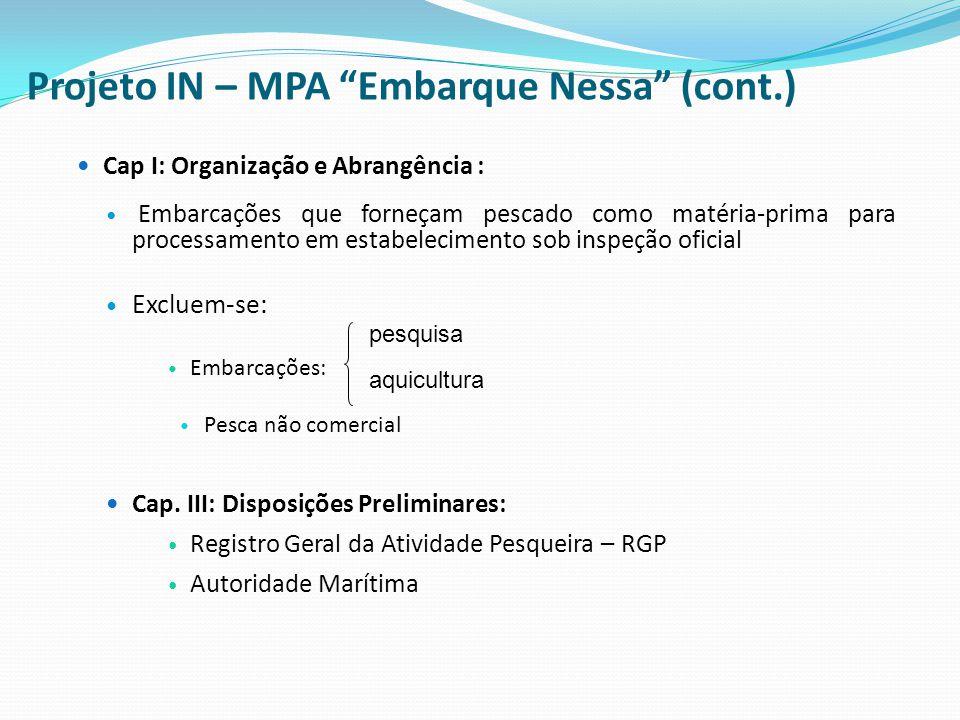 """Projeto IN – MPA """"Embarque Nessa"""" (cont.) Cap I: Organização e Abrangência : Embarcações que forneçam pescado como matéria-prima para processamento em"""