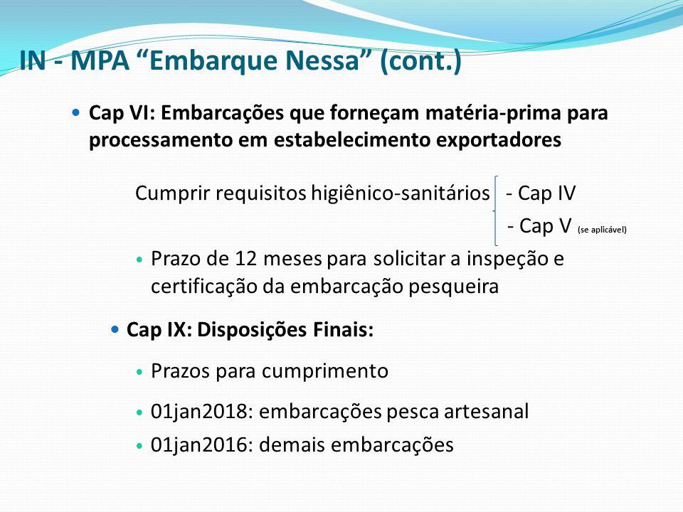 """IN - MPA """"Embarque Nessa"""" (cont.) Cap VI: Embarcações que forneçam matéria-prima para processamento em estabelecimento exportadores Cumprir requisitos"""
