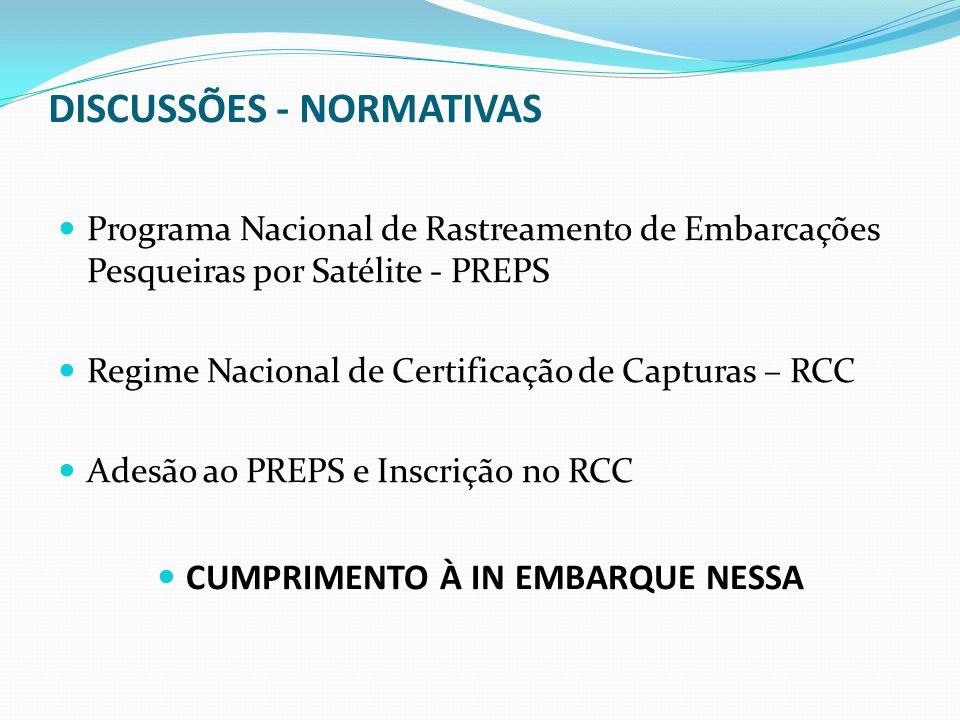 Programa Nacional de Rastreamento de Embarcações Pesqueiras por Satélite - PREPS Regime Nacional de Certificação de Capturas – RCC Adesão ao PREPS e I