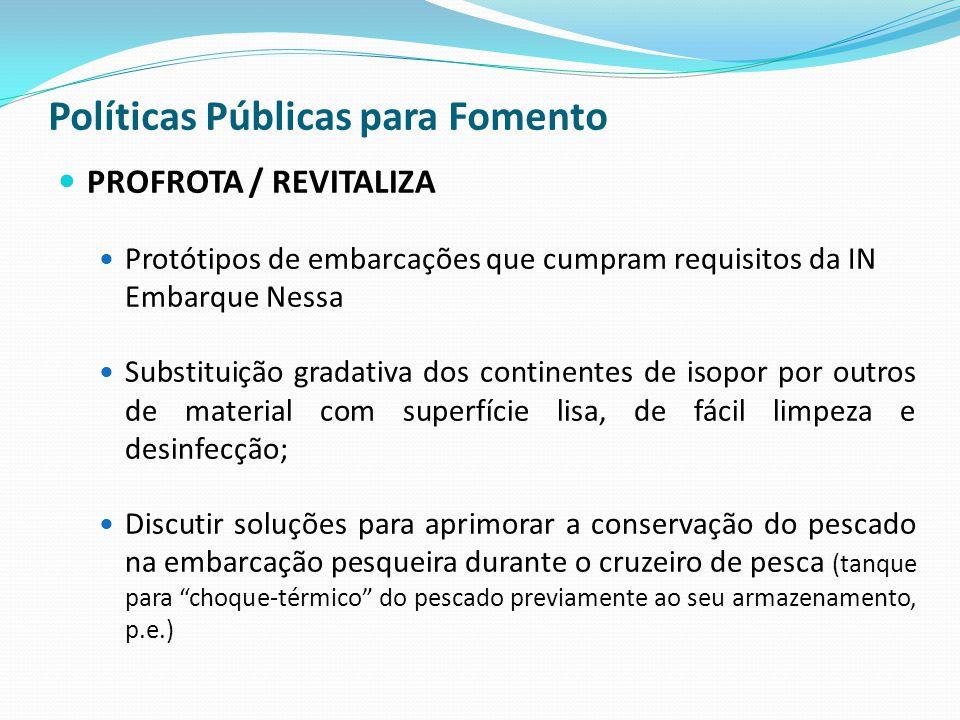 Políticas Públicas para Fomento PROFROTA / REVITALIZA Protótipos de embarcações que cumpram requisitos da IN Embarque Nessa Substituição gradativa dos