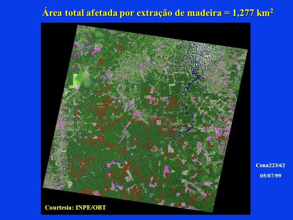 Área total afetada por extração de madeira = 1,277 km 2 Cena223/62 05/07/99 Courtesia: INPE/OBT