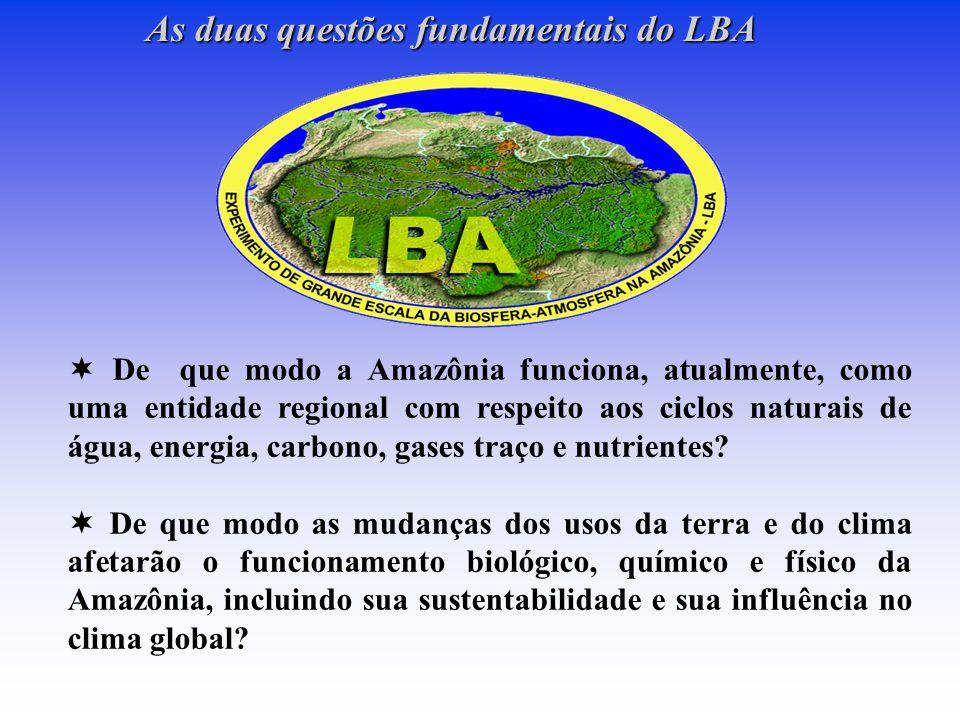 As duas questões fundamentais do LBA  De que modo a Amazônia funciona, atualmente, como uma entidade regional com respeito aos ciclos naturais de água, energia, carbono, gases traço e nutrientes.
