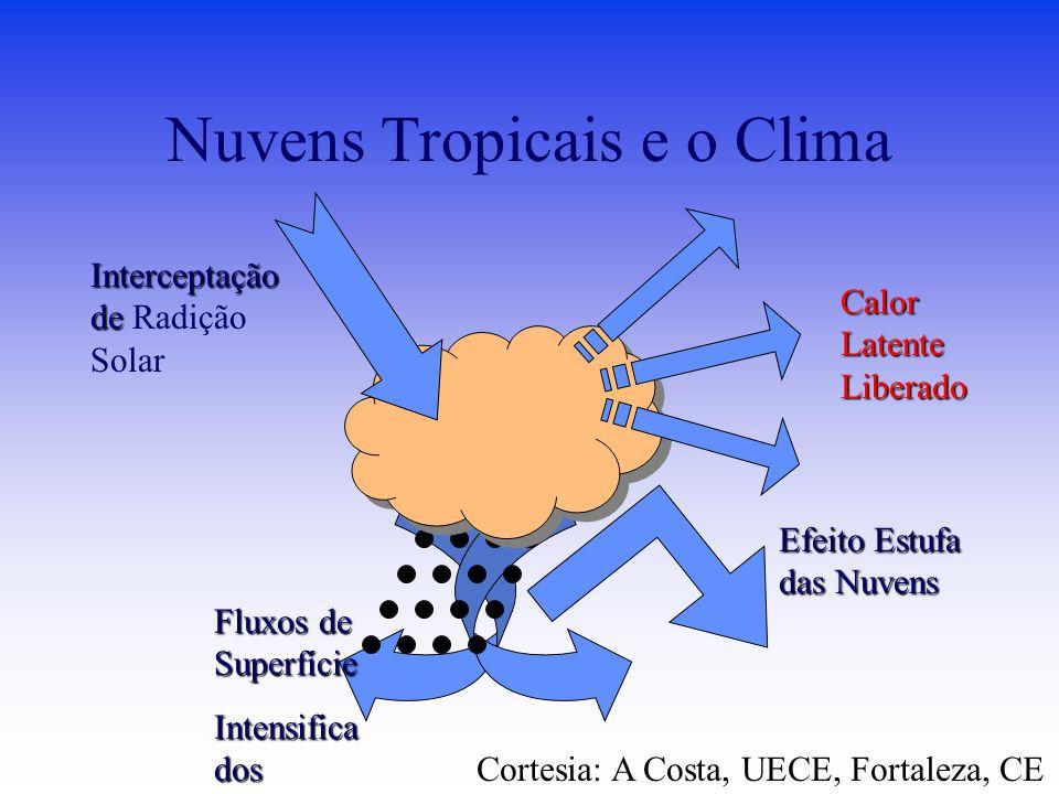 Fluxos de Superfície Intensifica dos Nuvens Tropicais e o Clima Efeito Estufa das Nuvens Interceptação de Interceptação de Radição Solar Calor Latente Liberado Cortesia: A Costa, UECE, Fortaleza, CE