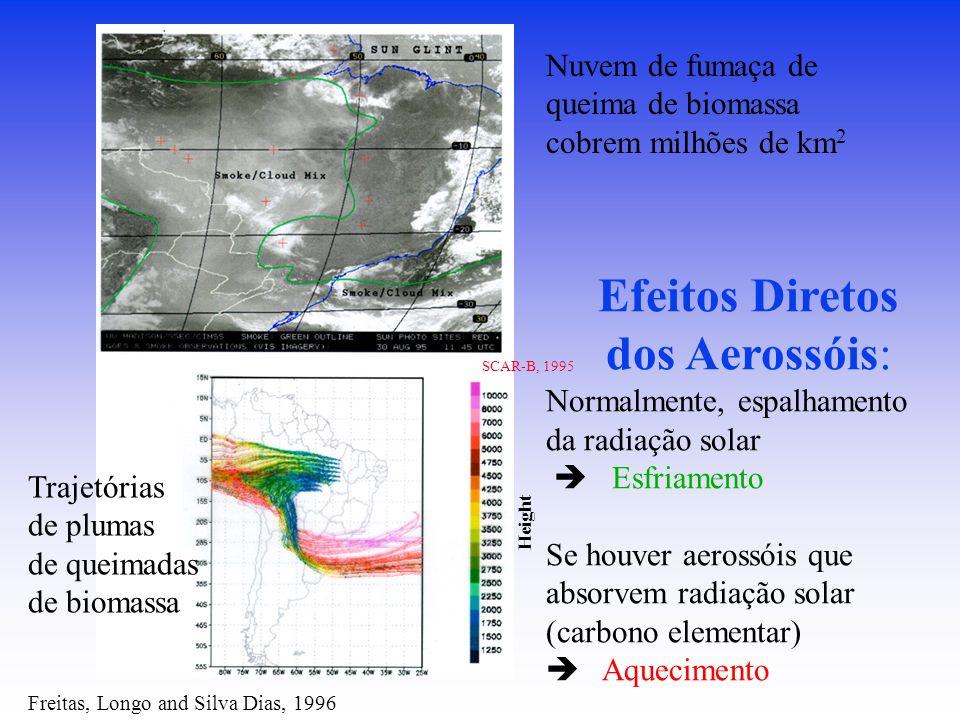 Freitas, Longo and Silva Dias, 1996 Trajetórias de plumas de queimadas de biomassa SCAR-B, 1995 Nuvem de fumaça de queima de biomassa cobrem milhões de km 2 Height Efeitos Diretos dos Aerossóis: Normalmente, espalhamento da radiação solar  Esfriamento Se houver aerossóis que absorvem radiação solar (carbono elementar)  Aquecimento