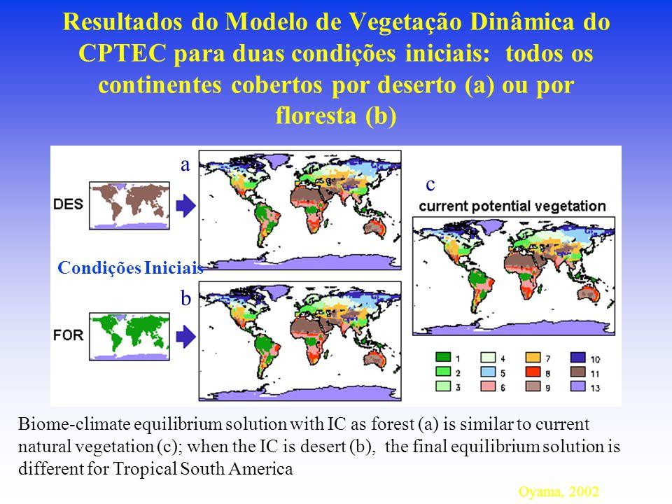Resultados do Modelo de Vegetação Dinâmica do CPTEC para duas condições iniciais: todos os continentes cobertos por deserto (a) ou por floresta (b) Oyama, 2002 Biome-climate equilibrium solution with IC as forest (a) is similar to current natural vegetation (c); when the IC is desert (b), the final equilibrium solution is different for Tropical South America a b c Condições Iniciais