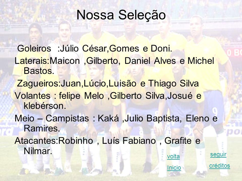 Nossa Seleção Goleiros :Júlio César,Gomes e Doni.