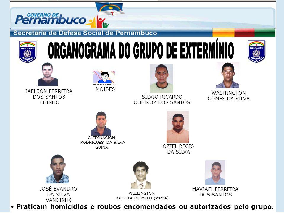 Praticam homicídios e roubos encomendados ou autorizados pelo grupo. CLEDINACION RODRIGUES DA SILVA GUINA WELLINGTON BATISTA DE MELO (Padre) OZIEL REG